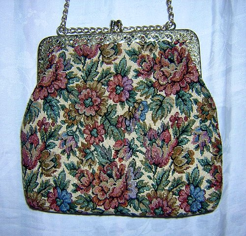 Regale floral tapestry evening bag handmade vintage ll1519