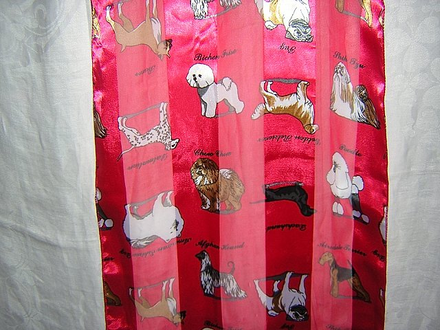 Dog breeds polyester scarf long satin chiffon stripes unused with tags ll1841