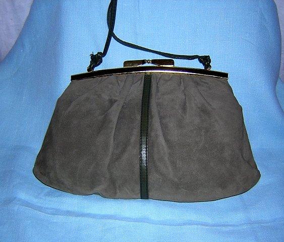 JR Canada faux suede purse taupe spaghetti strap vintage dressy ll1499