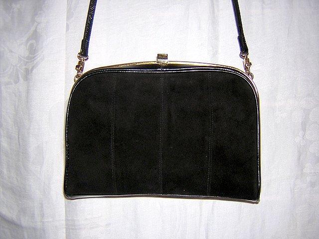 Black kid and suede shoulder bag La Scala vintage nice shape ll1498