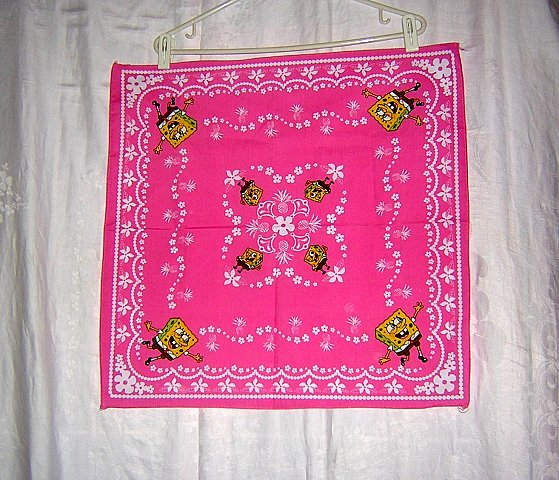 Square Bob Sponge Pants pink cotton bandana kerchief scarf