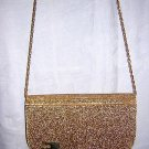Evening bag of Gold flecked Lucite and gold leatherette vintage ll1518