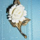 Goldtone and white coral rose brooch pin as new vintage ll1947