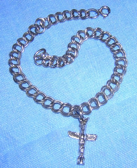 Sterling silver double link bracelet totem pole charm vintage jewelry ll2063