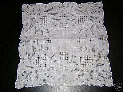 Appenzel embroidery threadwork wedding hanky vintage antique ll1620