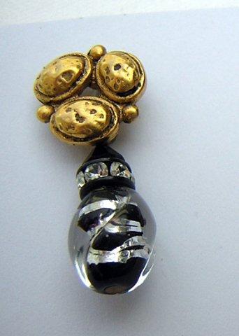 Petite drop earrings gold tone silver foil lucite rhinestones pierced vintage jewelry ll2022