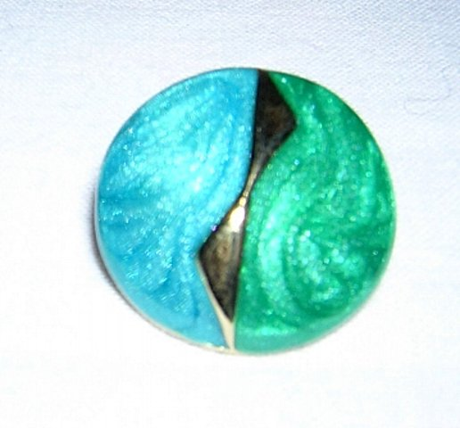 Turquoise enamel on gold tone button earrings pierced vintage jewelry ll2041