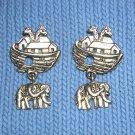 Noah's ark brass tone earrings elephant drops pierced vintage jewelry ll2006