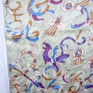 Fantasy creatures jacquard silk coat scarf double thick fringe unused ll1010