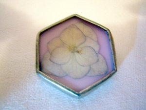 Pressed flower and silver pin brooch handmade vintage ll1002