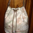 Metalic printed leather drawstring shoulder bag High Fashion unused vintage ll1011