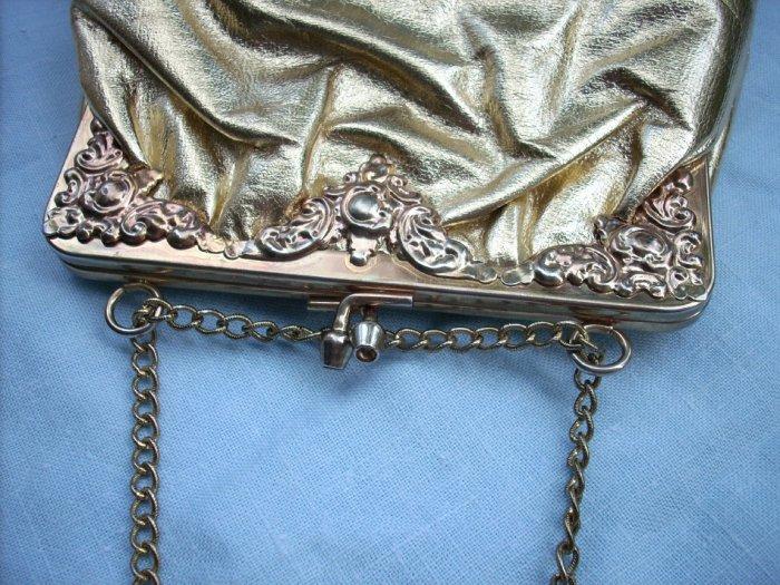 Gold foil evening bag repousse frame chain strap vintage reproduction ll1697
