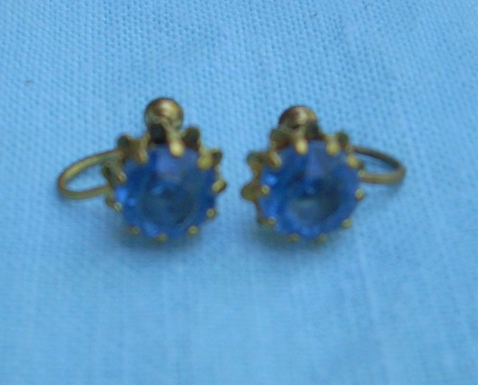 Blue sapphire rhinestone earrings screwback vintage jewelry  ll1043