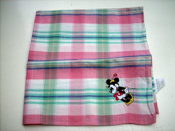 Cotton plaid Minnie Mouse appliqued kerchief bandana scarf vintage ll1050