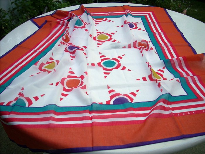 Perry Ellis summer cotton scarf large stylized stars excellent vintage ll1061