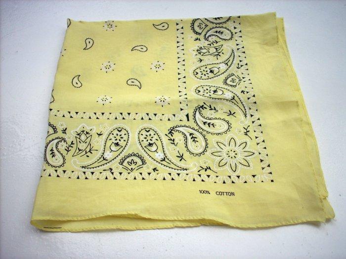 Yellow black paisley cotton bandana scarf kerchief ll1069