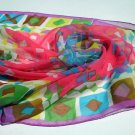 Trevira polyester chiffon scarf luscious summer colors vintage ll1071
