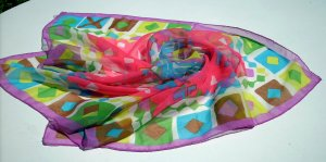 Trevira polyester chiffon scarf luscious summer colors vintage ll1071