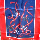 Red white blue long silk scarf butterflies ribbons unused ll1081
