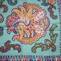 Vintage paisley scarf olive and orange printed fringe ll1100
