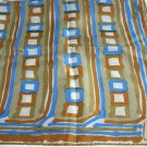 Vintage Vera rayon silk scarf stripes and squares rolled hem ll1102