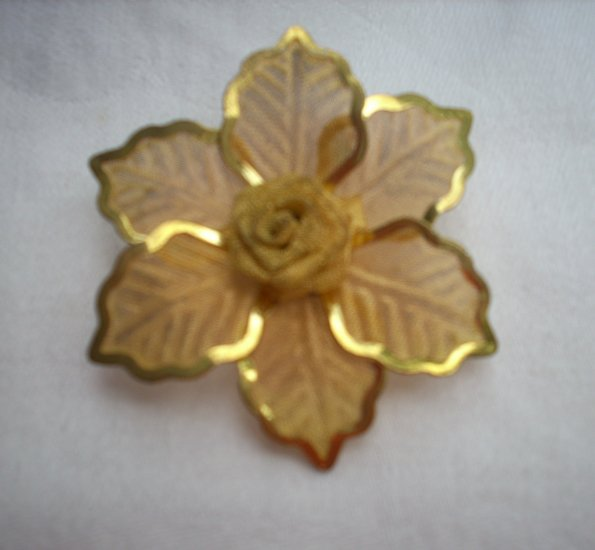 Gossamer gold tone mesh brooch rose amid leaves mid century vintage pin ll1103