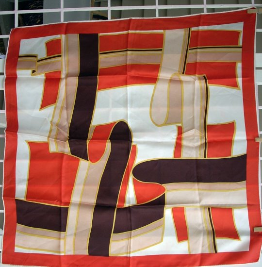 Vintage acetate twill scarf striped ribbons design bold red ll1106