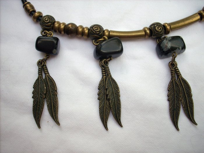 Brass Snowflake obsidian bead necklace on rubber cord feather charms vintage jewelry ll1118