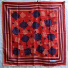 Bayron large all silk scarf red w gold navy rolled hem unused ll1232