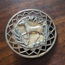 Vintage circle scarf clip with Max the horse in center brass ll1235