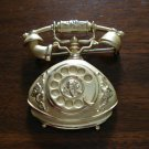 Ornate French style dial telephone pin or brooch gold tone ll1239