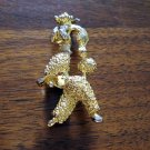 Gold tone marching poodle brooch pin rhinestone eyes vintage ll1244