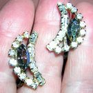JayFlex Sterling rhinestone aurora borealis earrings screw backs vintage jewelry ll1255