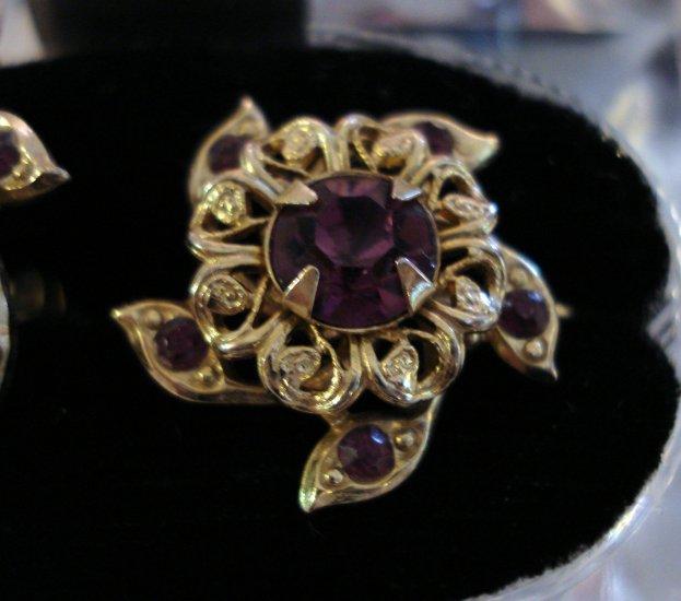 Coro pinwheel earrings grape amethyst rhinestones screw back vintage jewelry ll1259