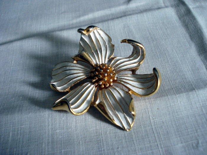 Marcel Boucher floral brooch dogwood signed numbered flower pin mint vintage ll1274