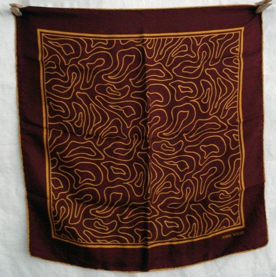 John Weitz vintage silk scarf maze-like design rolled hem ll1305