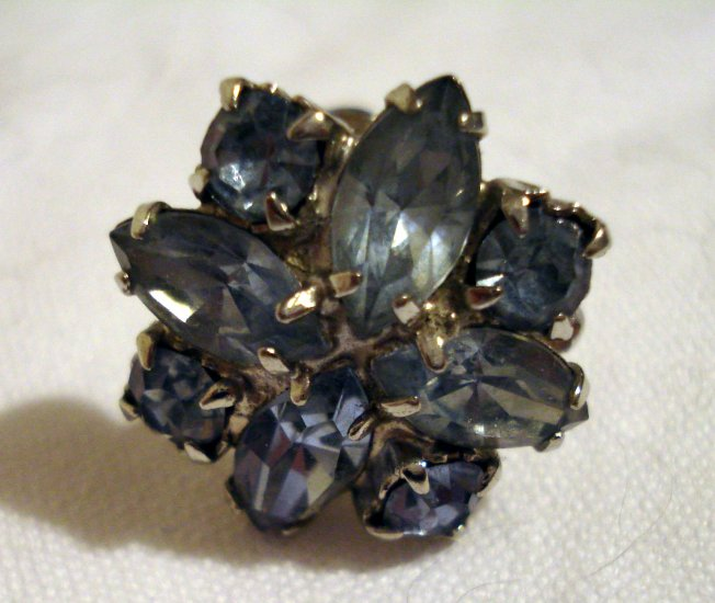 Blue rhinestone earrings screwback marquise round cut vintage jewelry ll1312