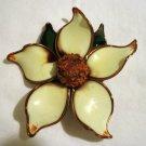 Dogwood pin brooch hand made china ceramic vintage ll1313