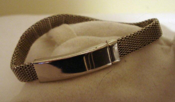 Silvery mesh identification ID bracelet magnetic slider  vintage ll1312