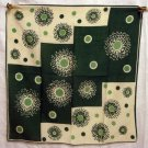 Dotted cotton scarf green tan vintage ll1333
