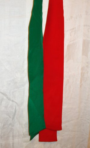 Two silk scarf ties in Christmas colors Tabi International unused vintage ll1362