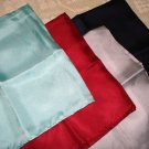 4 Silk small scarves or pocket puffs solid colors vintage ll1370