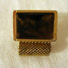 Gold tone mesh and stone slab men's cufflinks vintage jewelry ll1387
