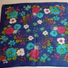 All over floral printed hanky navy ground vintage hankerchief ll1403