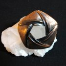 Brushed copper stylized circle pin brooch vintage mint condition ll1408