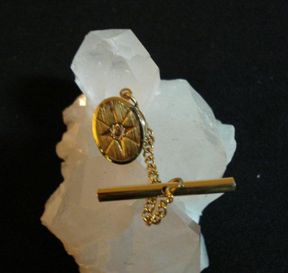 1950s Oval man's gold starburst tie tac diamond chip mechanical back vintage jewelry ll1421