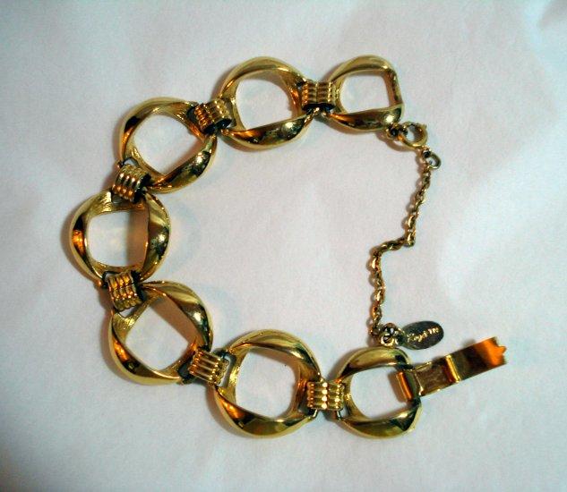 Roget gold plated large link bracelet safety chain mint vintage ll1339