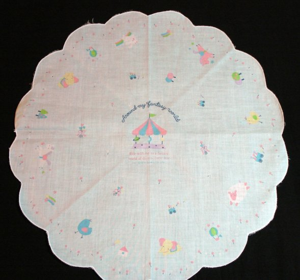 Around my fantasy world Sanrio 1979 round hanky unused ll1343