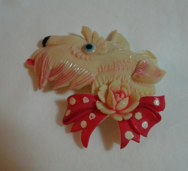 Celluloid scottie dog head polka dot bow rose book piece Occupied Japan perfect  ll1347