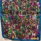 Elaine Gold Collection XIIX long silk scarf jewel tones unused vintage ll1357